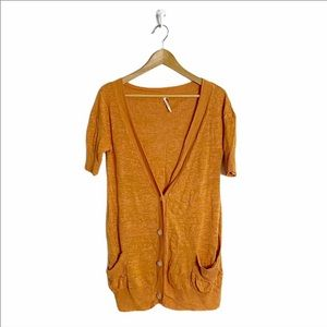 Free People Orange 100% Linen Button Up Tunic Top